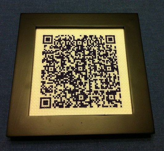 A cross stitched QR Code