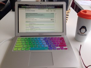 More work laptop, check out that colorful keyboard cover.