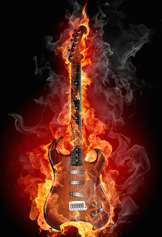 flaming guitar image
