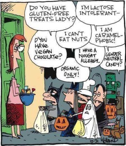 Cartoon showing a group of trick-or-treaters asking for gluten-free, nut-free, vegan, milk-free, and gender-neutral candy. One child says they are caramel-phobic.