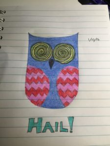 "A simplified owl drawing with swirly eyes and the word ""HAIL!"""